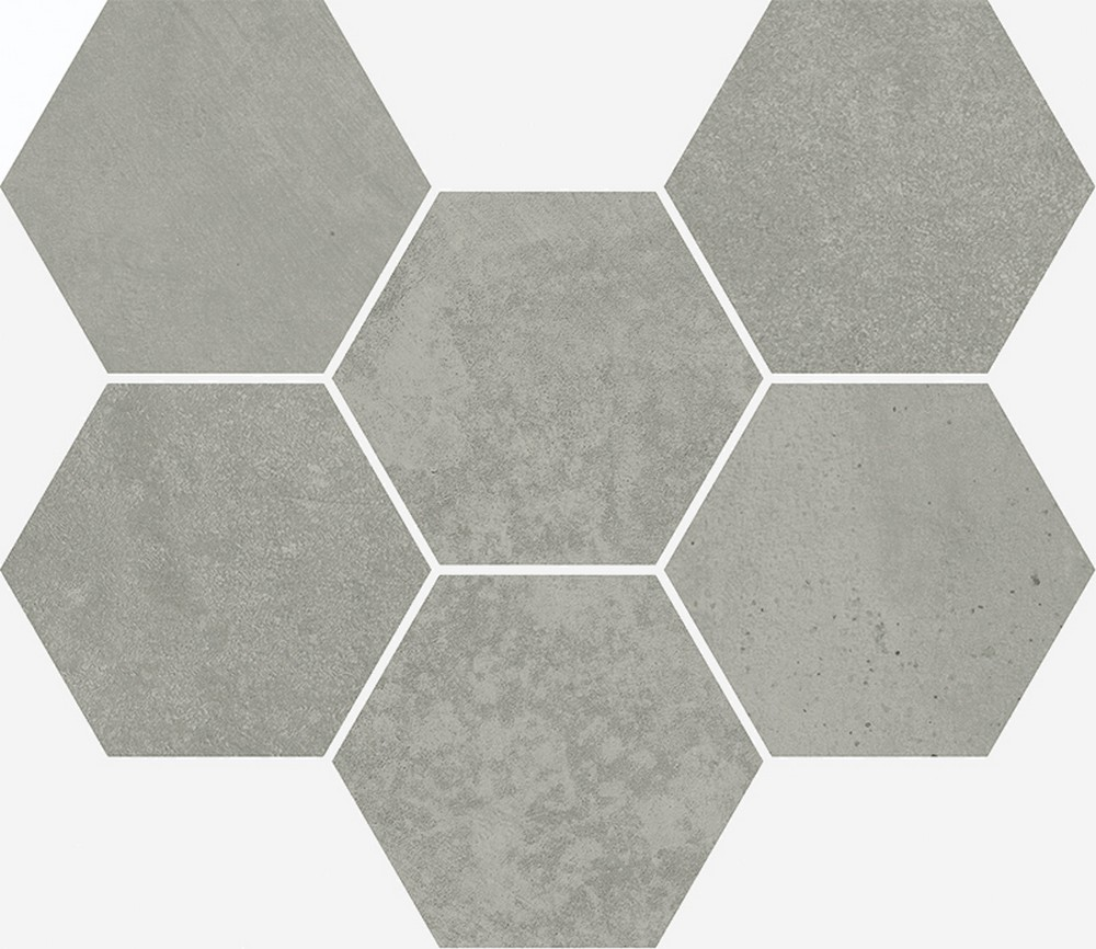 Мозаика terraviva grey mosaico hexagon 25x29